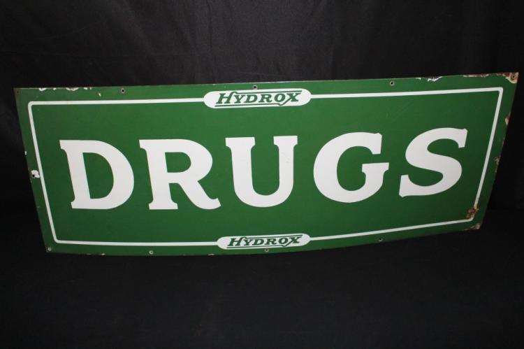 PORCELAIN HYDROX DRUG STORE SIGN