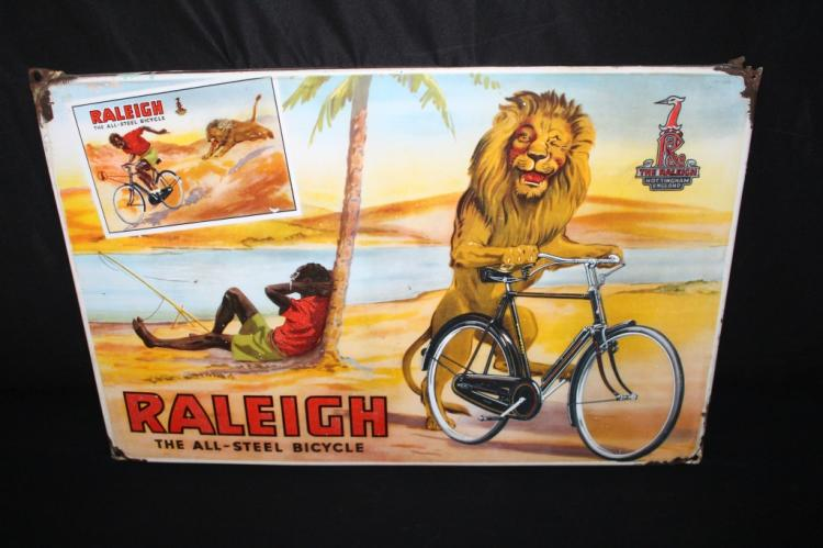 RARE PORCELAIN RALEIGH BICYCLES SIGN