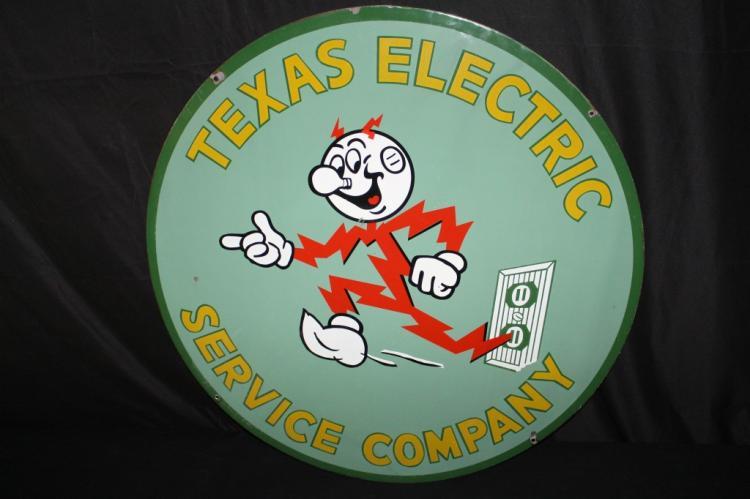 RARE PORCELAIN REDDY KILOWATT TEXAS ELECTRIC SIGN
