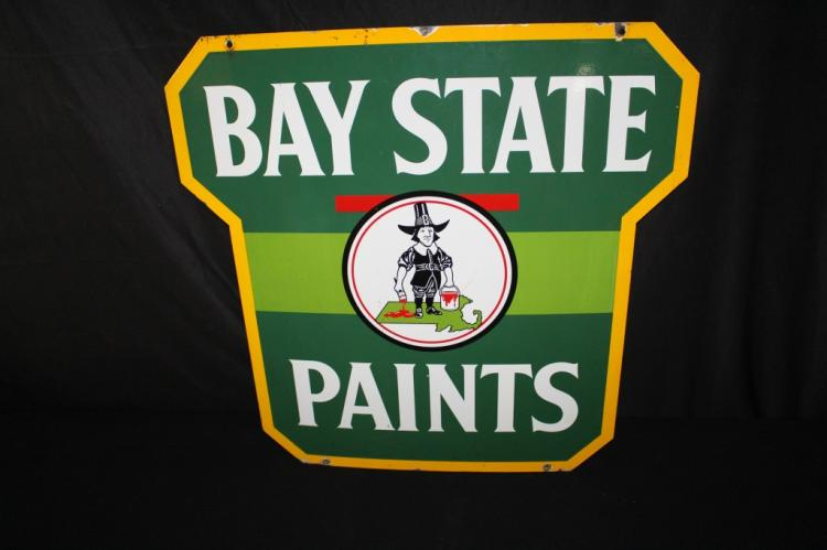 RARE PORCELAIN BAY STATE PAINTS SIGN 2 SIDED