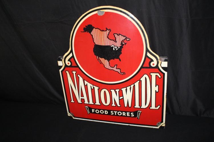 PORCELAIN NATION WIDE FOOD STORES SIGN