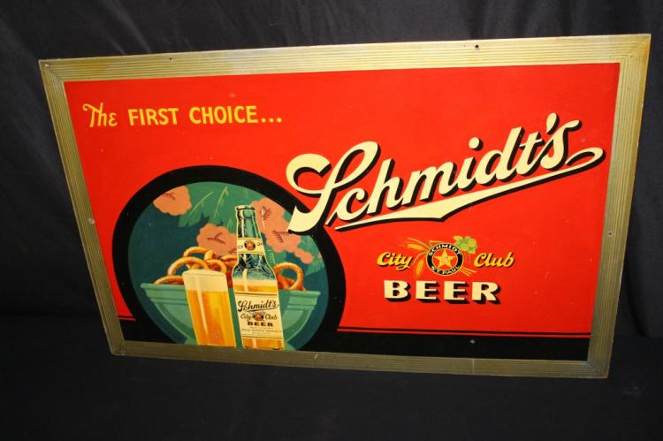 SCHMIDTS CITY CLUB BEER MASONITE SIGN