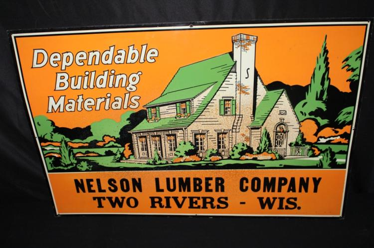 NELSON LUMBER CO TWO RIVERS WISCONSIN TIN SIGN