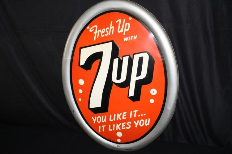 FRESH UP WITH SEVEN UP 7 UP CONVEX BUBBLE SIGN