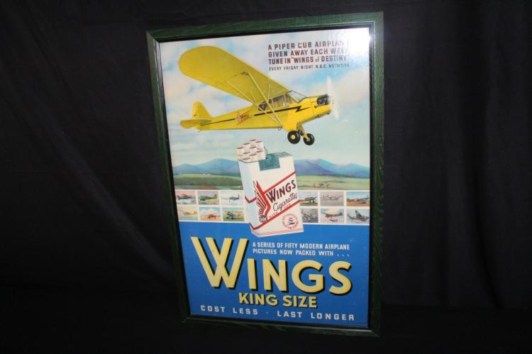 WINGS CIGARETTES PIPER CLUB AIRPLANE SIGN