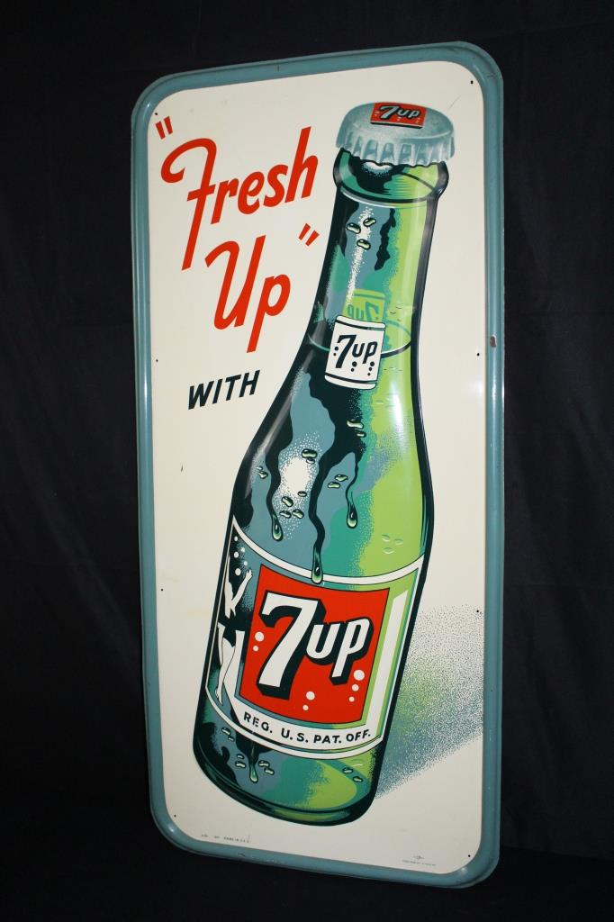 FRESH UP WITH SEVEN UP 7 UP EMBOSSED BOTTLE SIGN