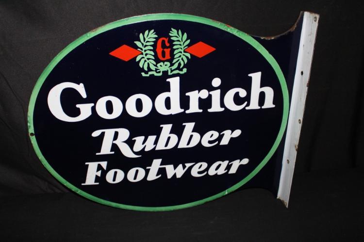 PORCELAIN GOODRICH RUBBER FOOTWEAR FLANGE SIGN