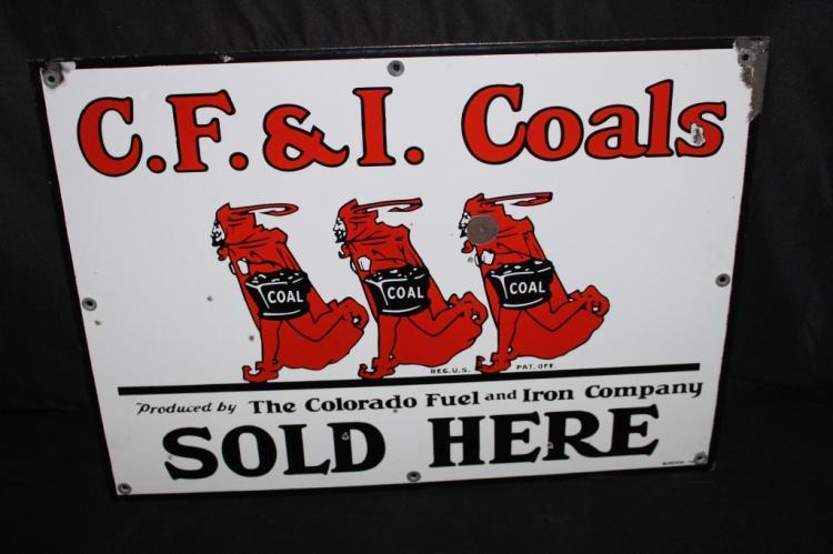 PORCELAIN CF&I COALS SOLD HERE SIGN