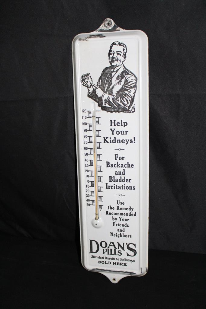PORCELAIN DOANS PILLS THERMOMETER SIGN