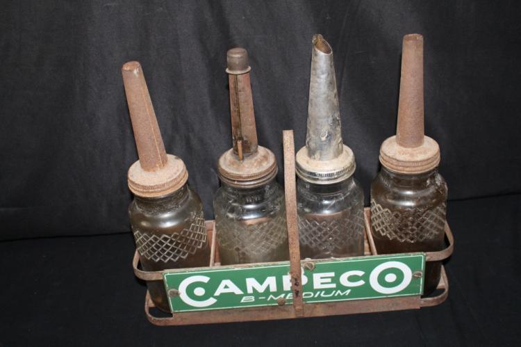 RACK OF 4 CAMPECO B-MEDIUM OIL BOTTLES