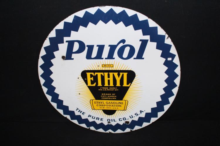 Porcelain Pure Oil Co Purol Gasoline Sign