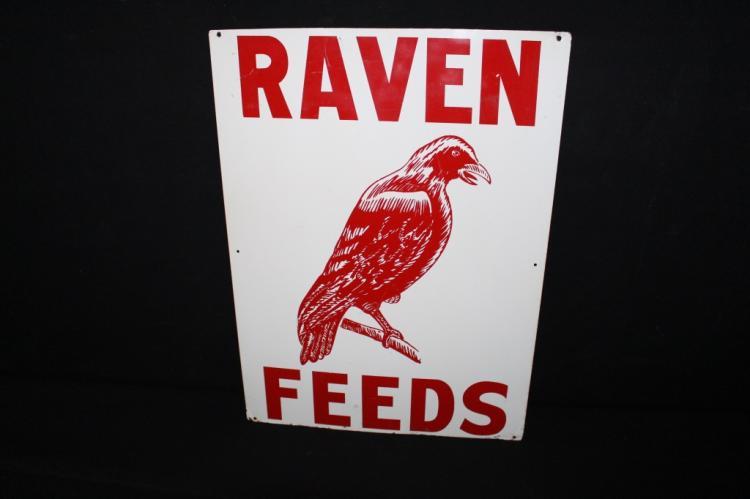 Raven Feeds Tin Farm Sign Crow Bird