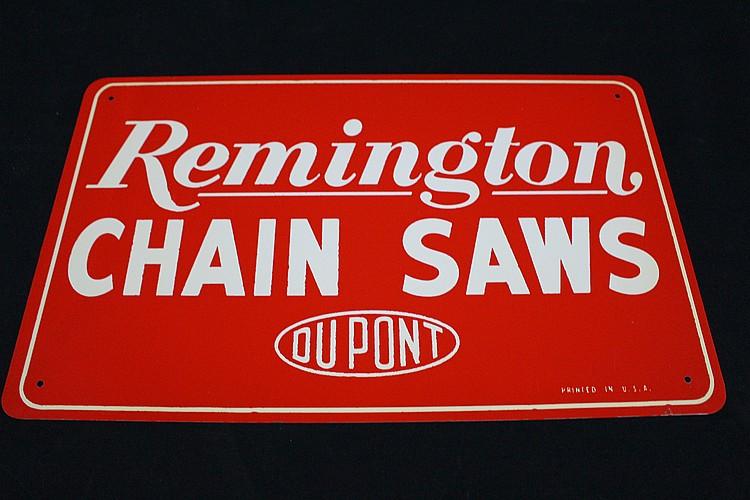 NOS Dupont Remington Chainsaws Tin Sign