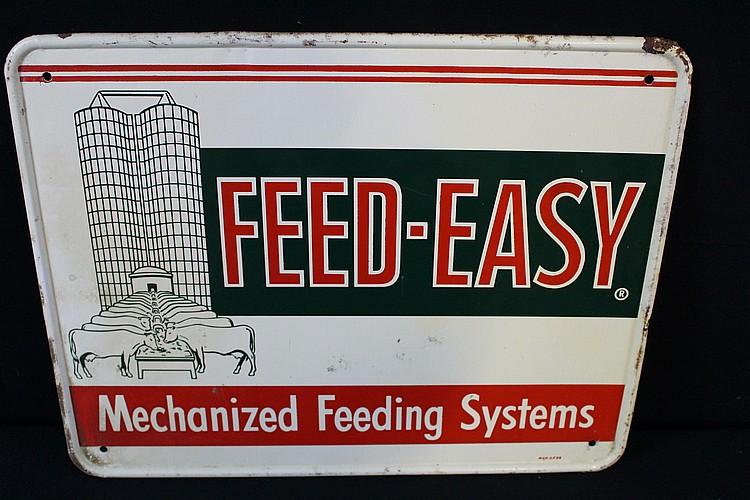 Feed Easy Mechanized Feeding Sytem Tin Sign Barn & Cow Graohics