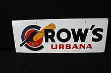 Lot 242: Crows Hybrid Seed Corn Urbana Ohio Tin Farm Dealer Sign