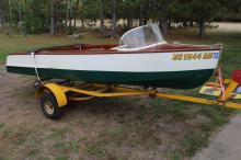 Awesome Vintage Wooden Boat And Trailer