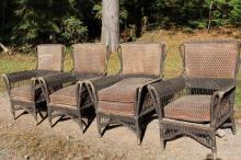 4 Wicker Deck Chairs From Mackinac Island Hotel