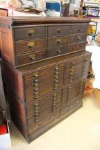 Great Antique Oak Stacking File Cabinet Unit