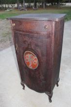 1904 Pyrography Folk Art Music Cabinet