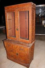 Kentucky Folk Art Grain Painted Primitive Cupboard