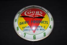 Coors Bros Dairy Double Bubble Clock