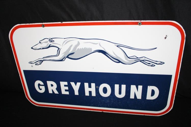 PORCELAIN GREYHOUND BUS DEPOT SIGN