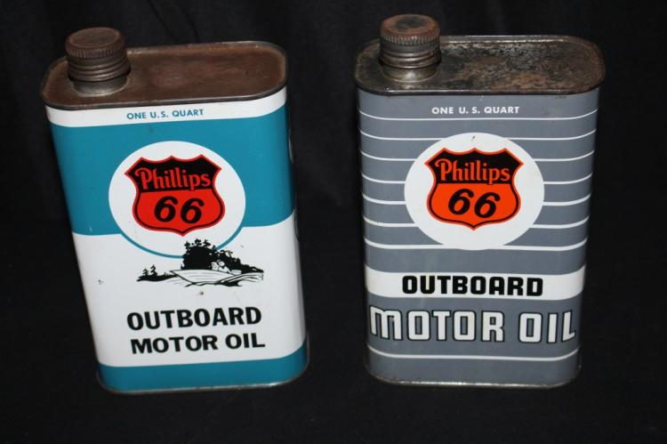 2 Phillips 66 Outboard Motor Oil Cans