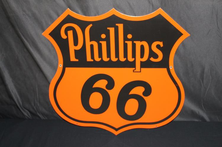 PORCELAIN PHILLIPS 66 GAS OIL SIGN DOUBLE SIDED