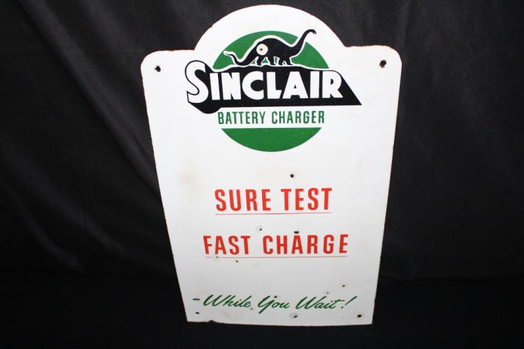 RARE PORCELAIN SINCLAIR BATTERY CHARGER SIGN