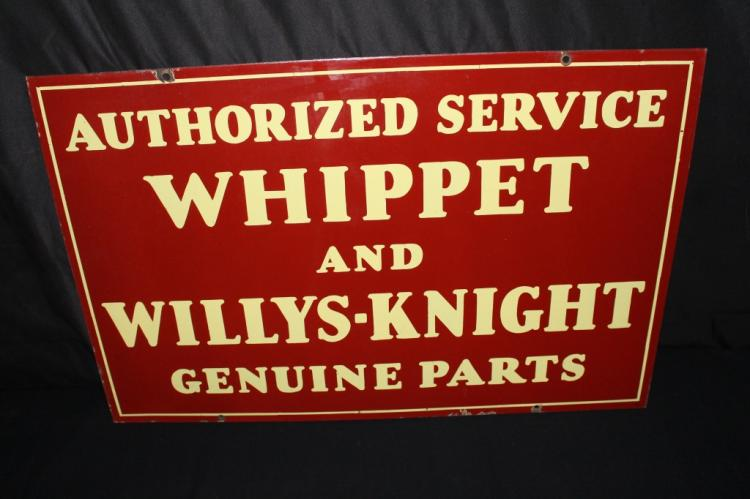 PORCELAIN WILLYS WHIPPET KNIGHT PARTS SERVICE SIGN