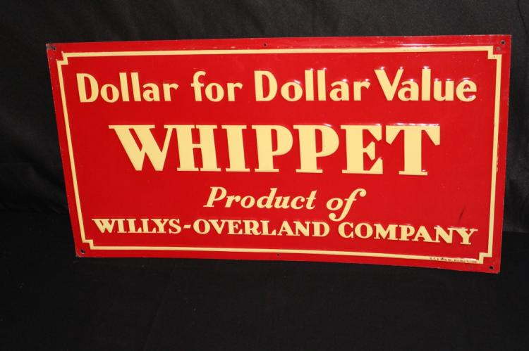 WILLYS OVERLAND WHIPPET AUTOMOBILE TIN SIGN