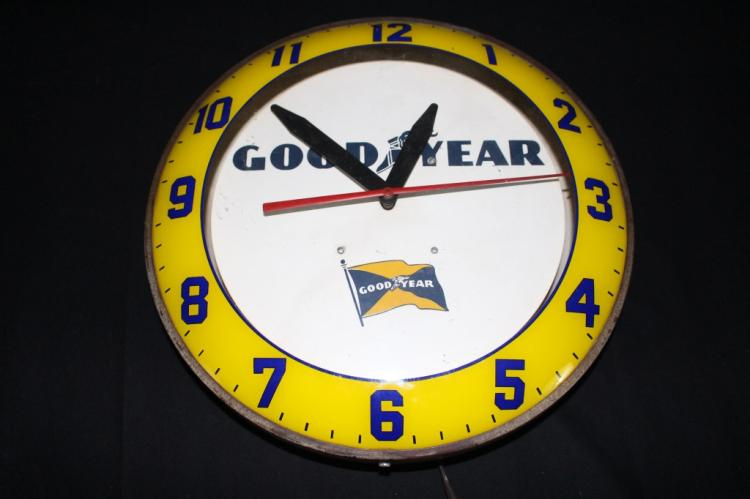 VERY RARE GOOD YEAR TIRES CLOCK SIGN
