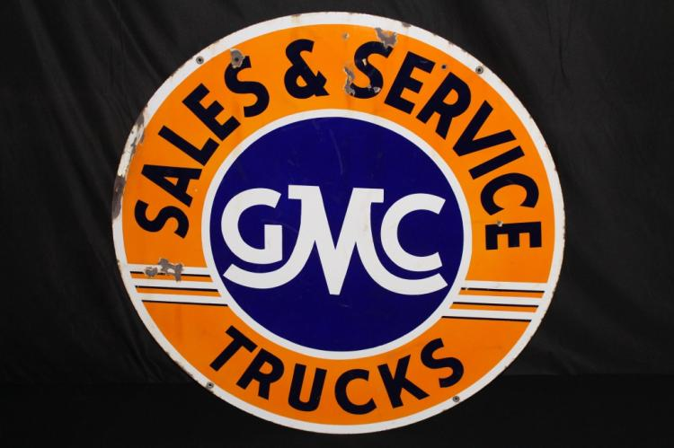 GMC TRUCKS SALES & SERVICE SIGN DOUBEL SIDED