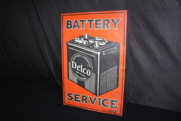 UNITED SERVICE MOTORS DELCO BATTERY FLANGE SIGN