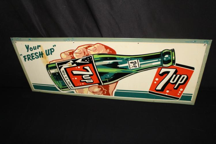FRESH UP SEVEN 7 UP SODA POP TIN SIGN