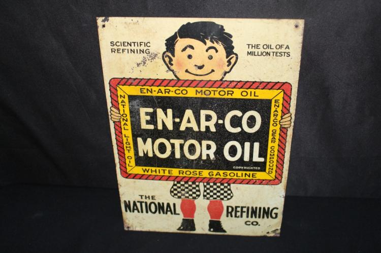 NATIONAL REFINING CO ENARCO MOTOR OIL TIN SIGN