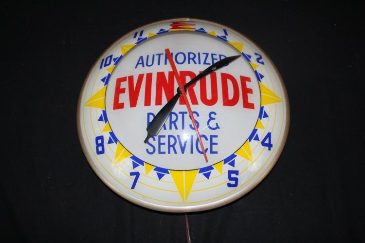 EVINRUDE OUTBOARD MOTORS DOUBLE BUBBLE CLOCK SIGN