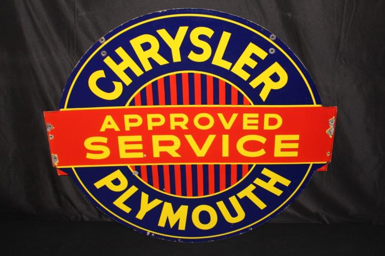 PORCELAIN CHRYSLER PLYMOUTH APPROVED SERVICE SIGN