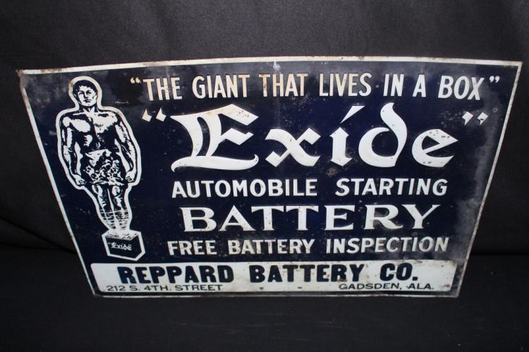 EXIDE AUTOMOBILE STARTING BATTERY TIN SIGN