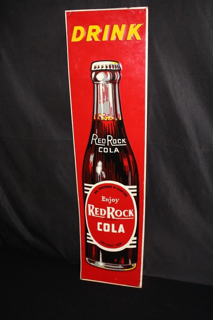 1938 RED ROCK COLA SODA POP TIN SIGN
