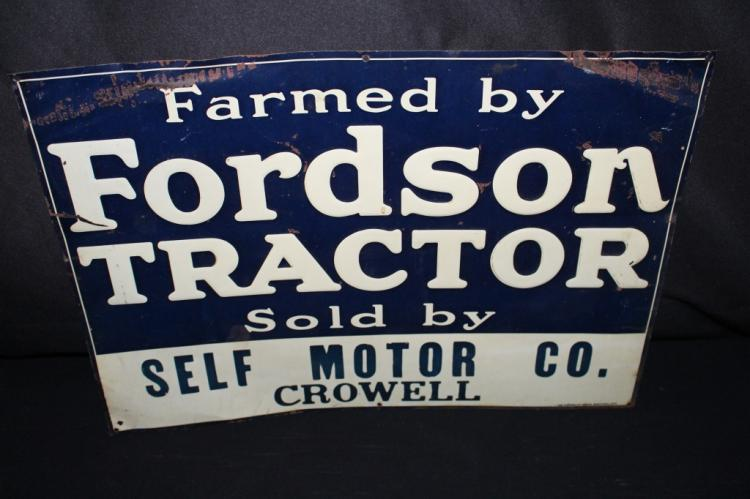 FORDSON TRACTORS TIN FARM SIGN CROWELL TEXAS
