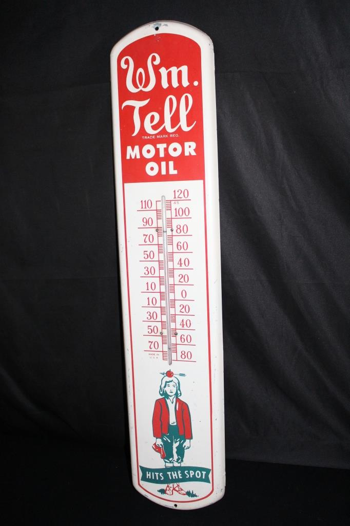 WM TELL MOTOR OIL THERMOMETER TIN SIGN