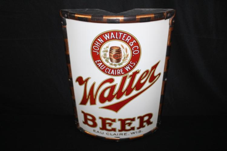 JOHN WALTER BREWING EAU CLAIRE VITROLITE BEER SIGN