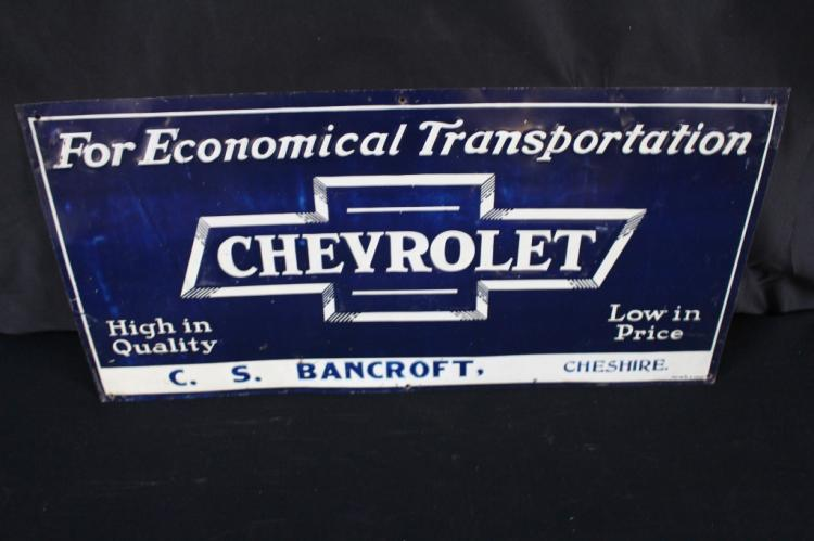 CHEVROLET CHEVY TIN SIGN CHESHIRE OREGON