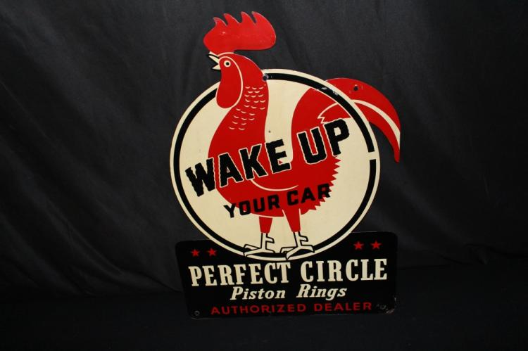 RARE ROOSTER PERFECT CIRCLE PISTON RINGS SIGN