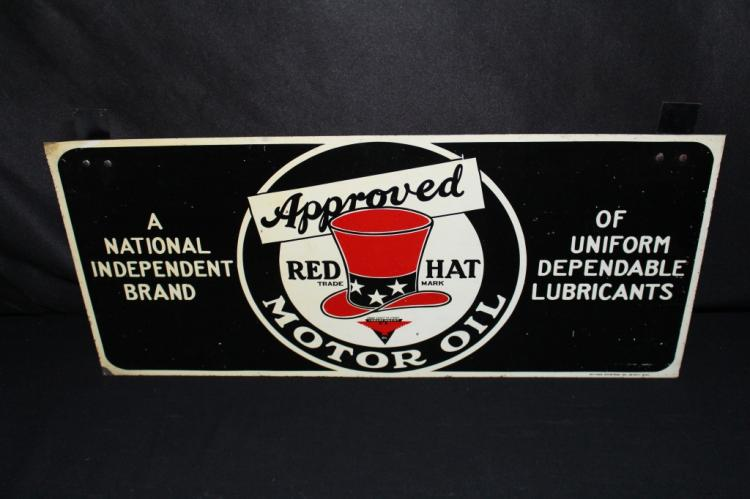 RARE RED HAT MOTOR OIL TIN SIGN 20""