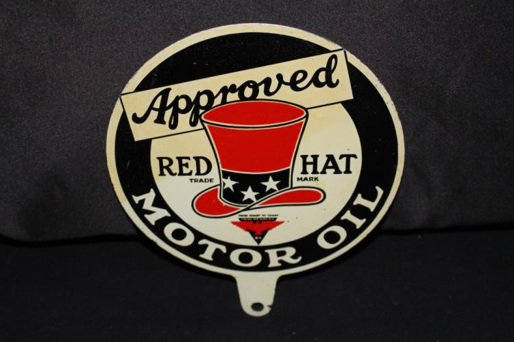 RARE RED HAT MOTOR OIL LUBESTER PADDLE SIGN