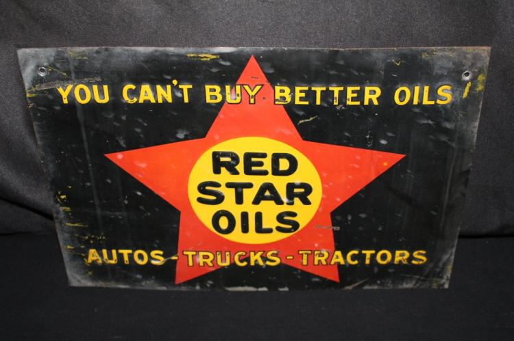 RED STAR OILS AUTO TRUCK & TRACTOR SIGN MONTANA