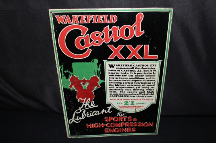 WAKEFIELD CASTROL XXL MOTORCYCLE OIL TIN SIGN