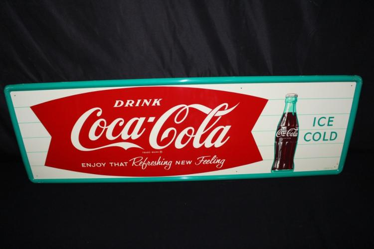 NOS DRINK COCA COLA FISHTAIL SODA POP TIN SIGN
